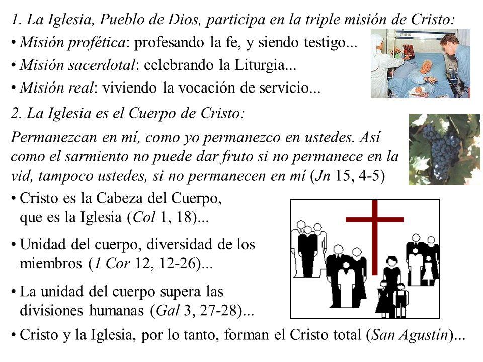 1. La Iglesia, Pueblo de Dios, participa en la triple misión de Cristo: