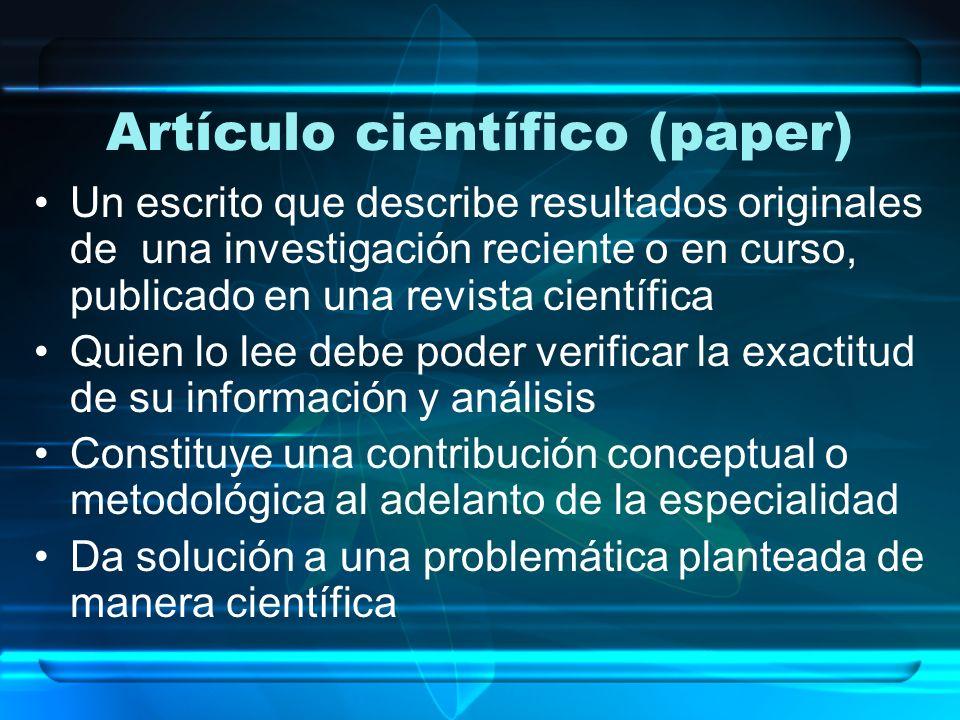 Artículo científico (paper)