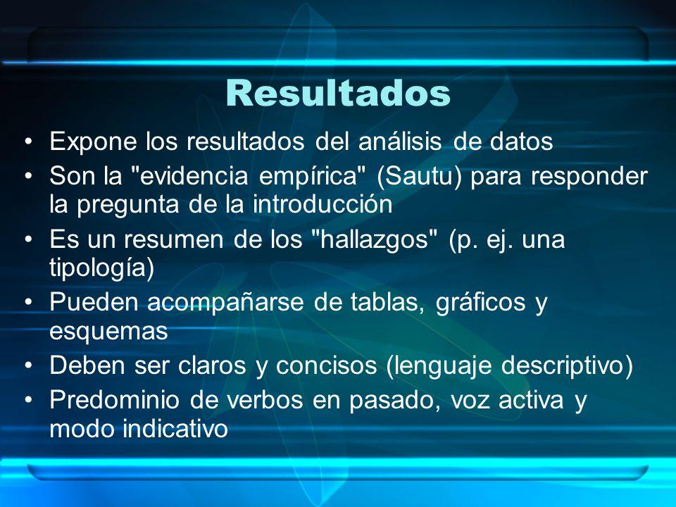 Resultados Expone los resultados del análisis de datos