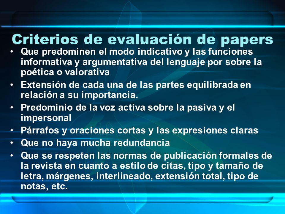 Criterios de evaluación de papers