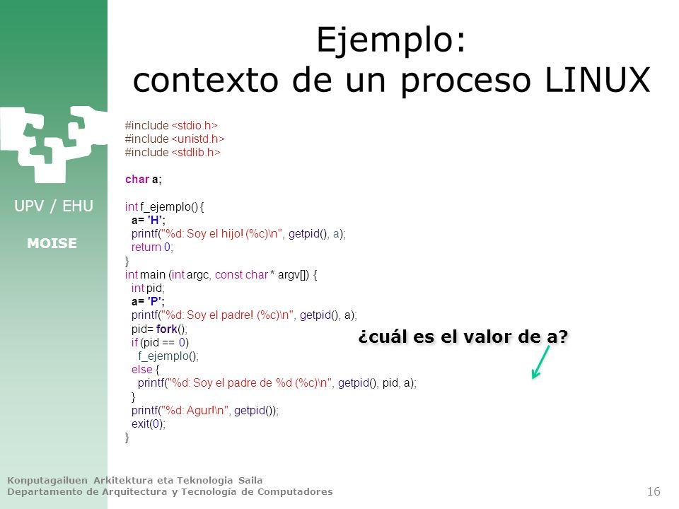 Ejemplo: contexto de un proceso LINUX