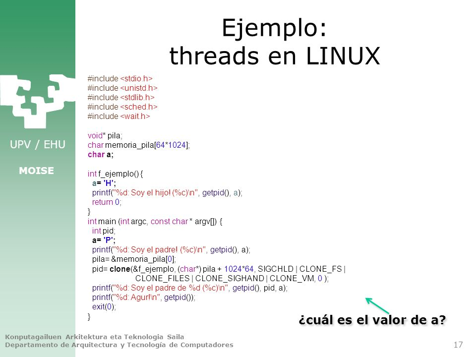 Ejemplo: threads en LINUX