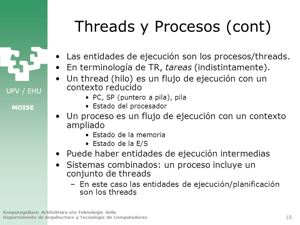 Threads y Procesos (cont)