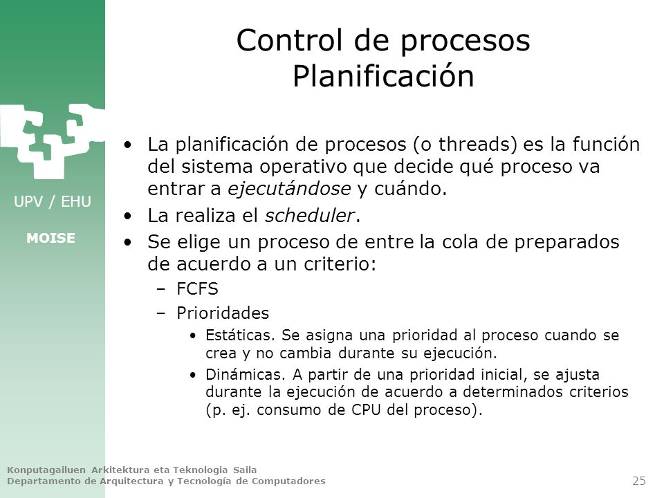 Control de procesos Planificación