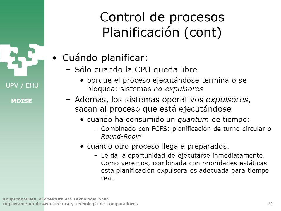 Control de procesos Planificación (cont)