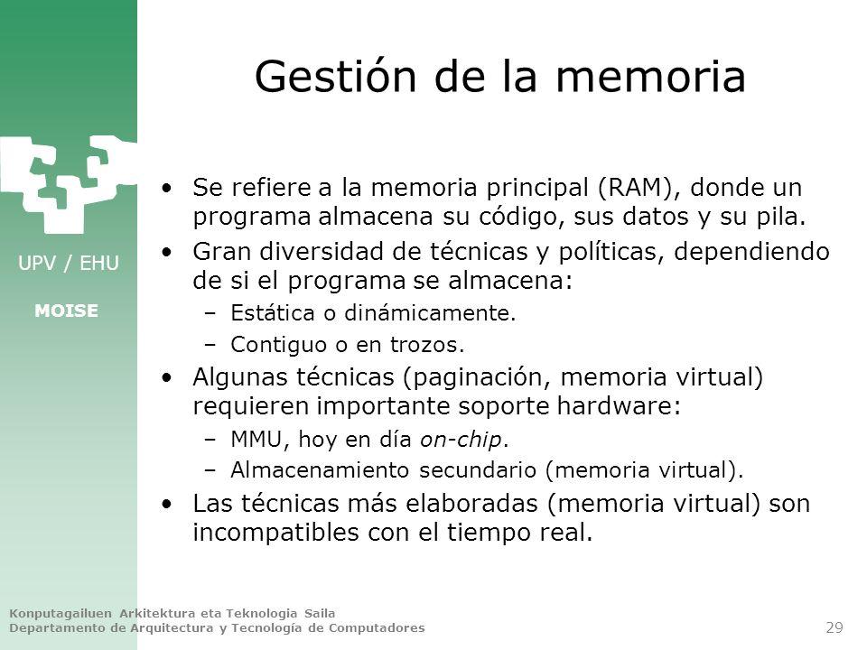 Gestión de la memoria Se refiere a la memoria principal (RAM), donde un programa almacena su código, sus datos y su pila.