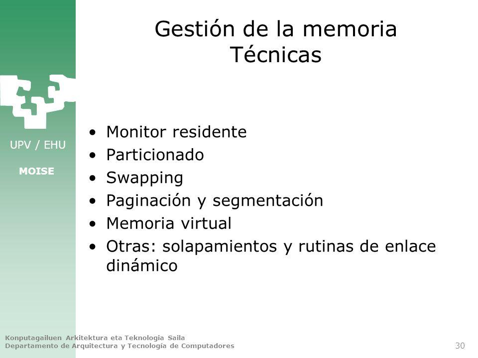 Gestión de la memoria Técnicas