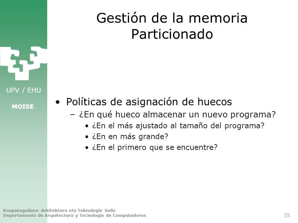 Gestión de la memoria Particionado