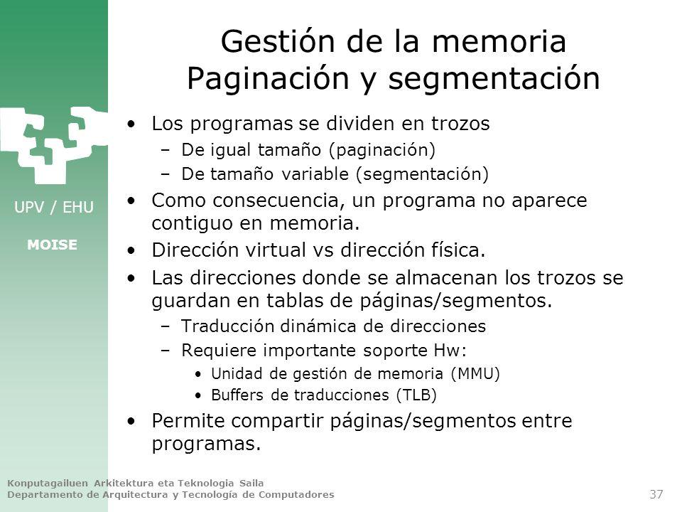 Gestión de la memoria Paginación y segmentación