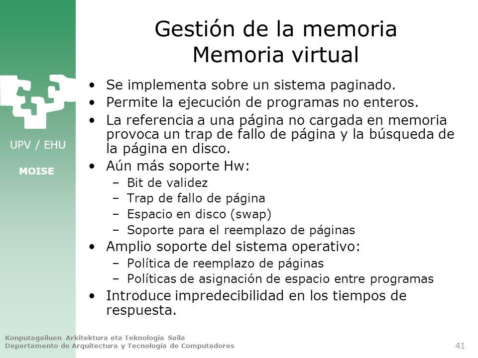 Gestión de la memoria Memoria virtual