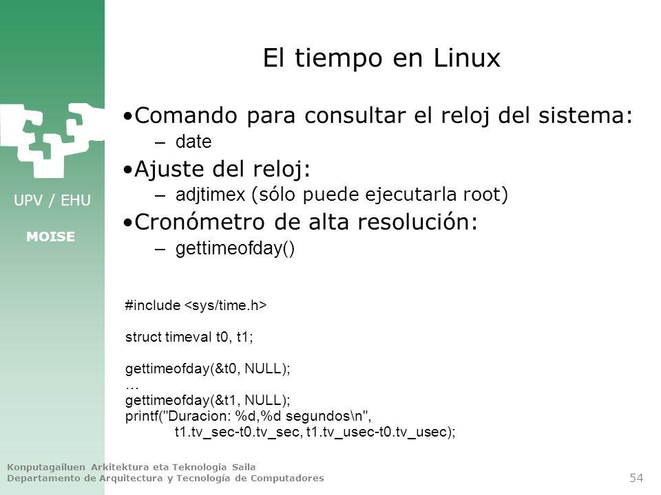 El tiempo en Linux Comando para consultar el reloj del sistema:
