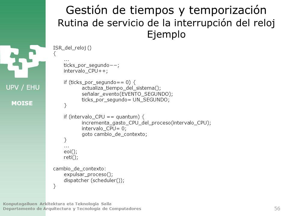 Gestión de tiempos y temporización Rutina de servicio de la interrupción del reloj Ejemplo