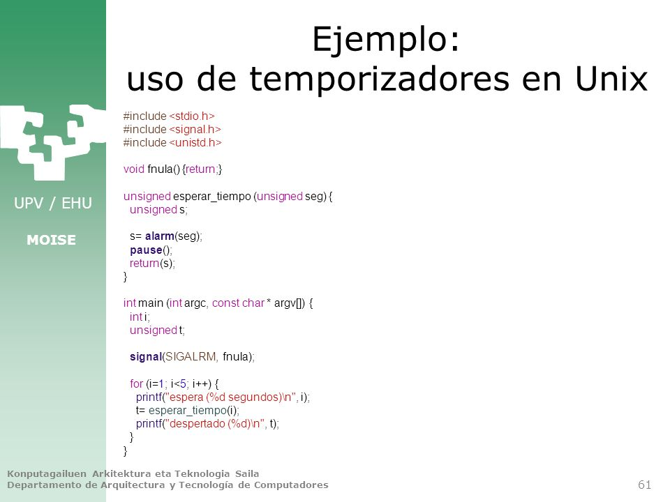 Ejemplo: uso de temporizadores en Unix