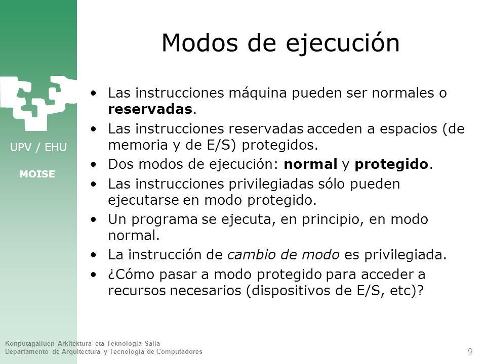 Modos de ejecución Las instrucciones máquina pueden ser normales o reservadas.