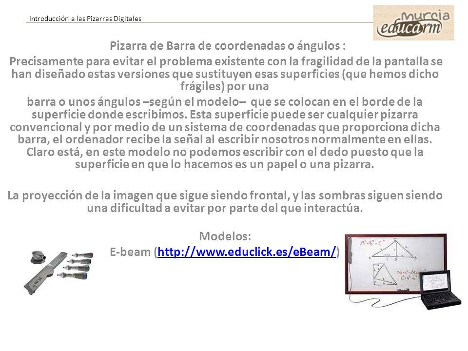Pizarra de Barra de coordenadas o ángulos :