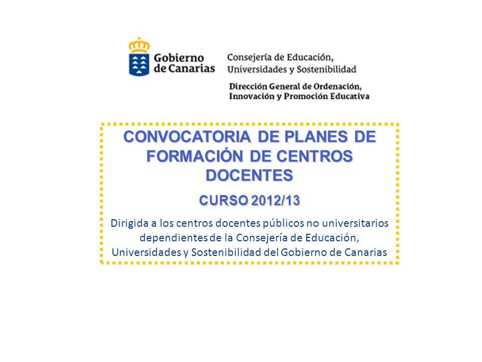 CONVOCATORIA DE PLANES DE FORMACIÓN DE CENTROS DOCENTES