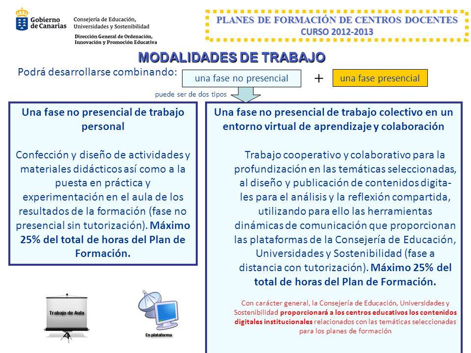+ MODALIDADES DE TRABAJO Podrá desarrollarse combinando: