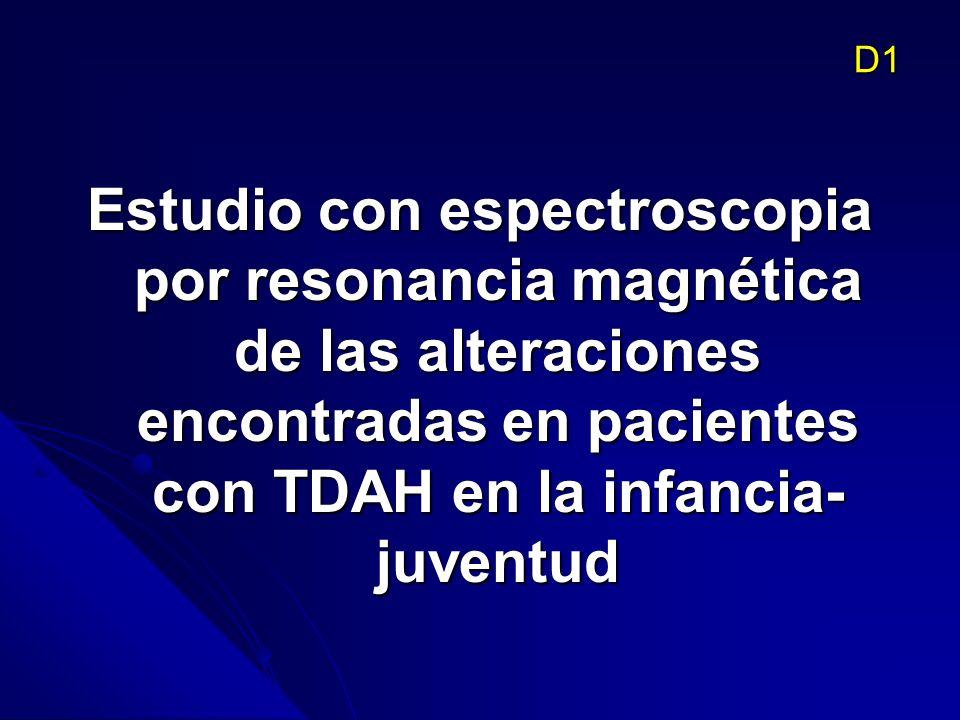 D1 Estudio con espectroscopia por resonancia magnética de las alteraciones encontradas en pacientes con TDAH en la infancia-juventud.