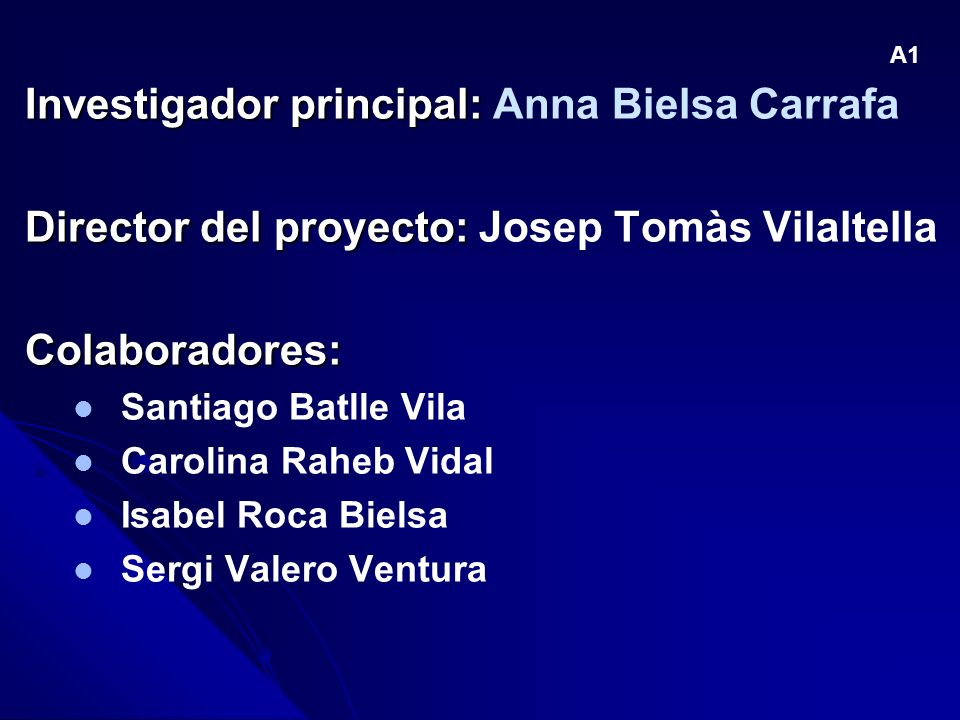 Investigador principal: Anna Bielsa Carrafa