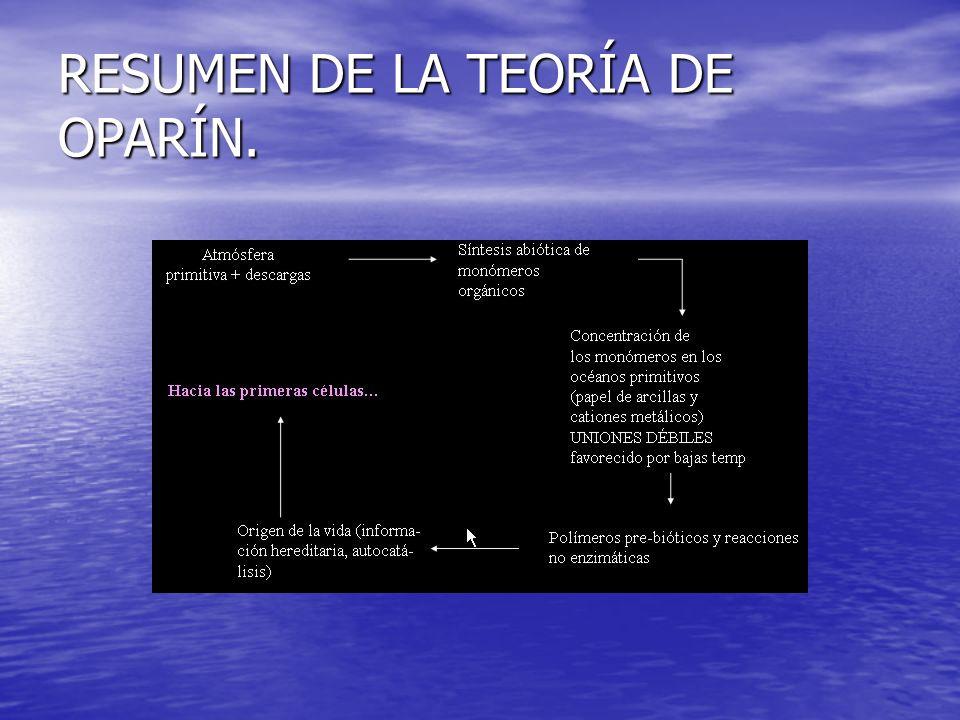 RESUMEN DE LA TEORÍA DE OPARÍN.