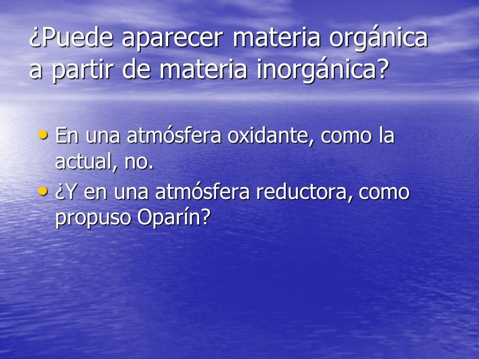 ¿Puede aparecer materia orgánica a partir de materia inorgánica