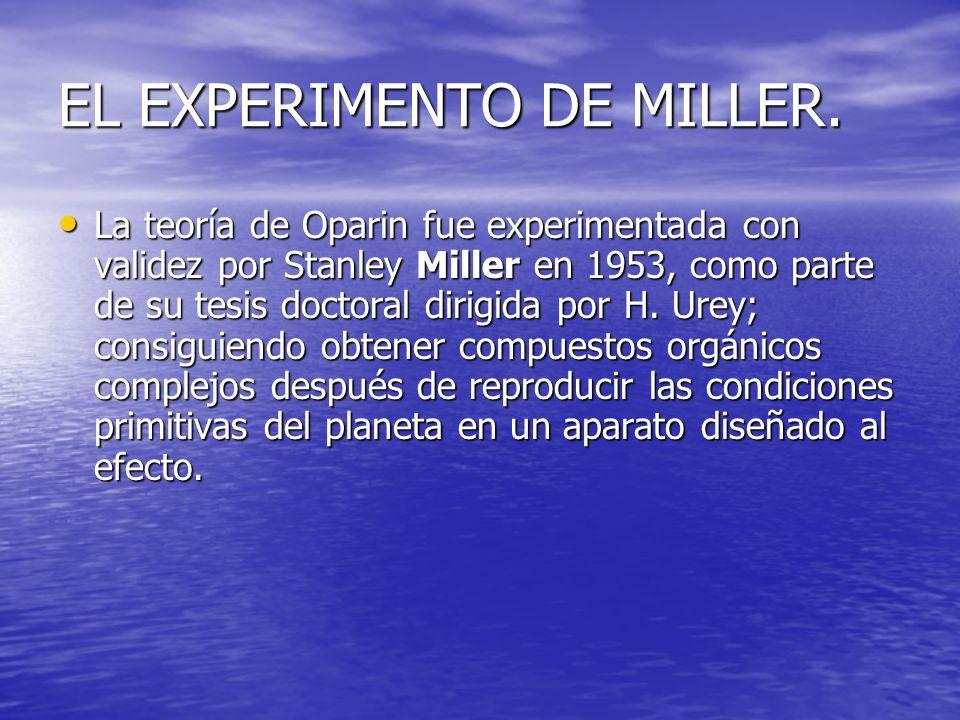 EL EXPERIMENTO DE MILLER.