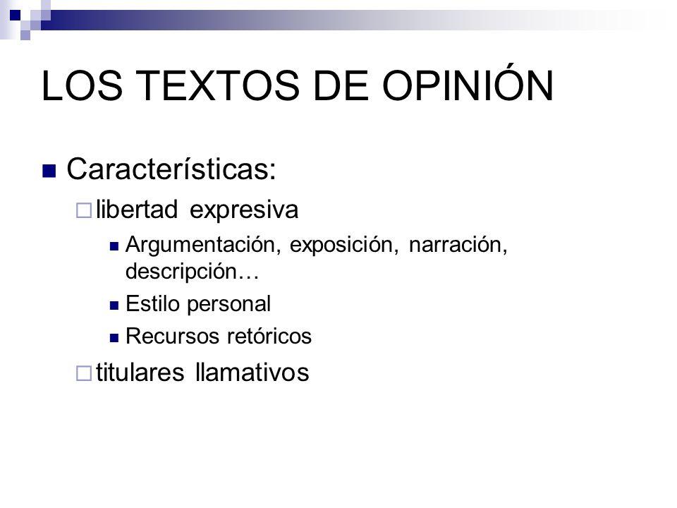 LOS TEXTOS DE OPINIÓN Características: libertad expresiva