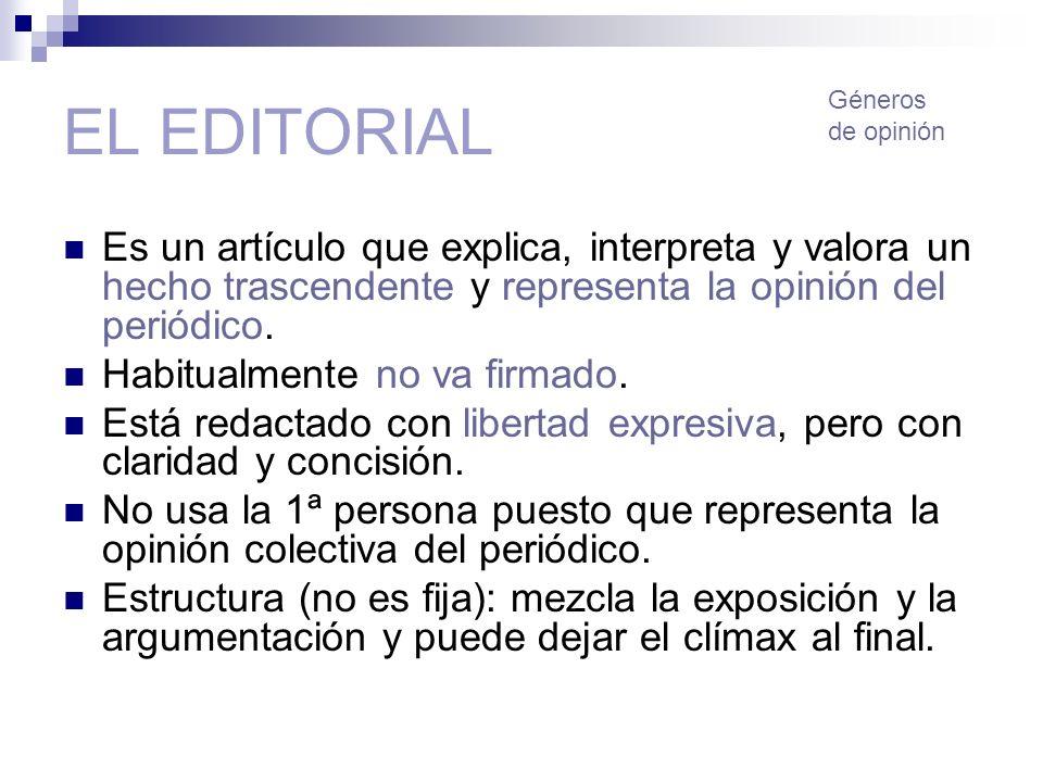 EL EDITORIAL Géneros. de opinión. Es un artículo que explica, interpreta y valora un hecho trascendente y representa la opinión del periódico.