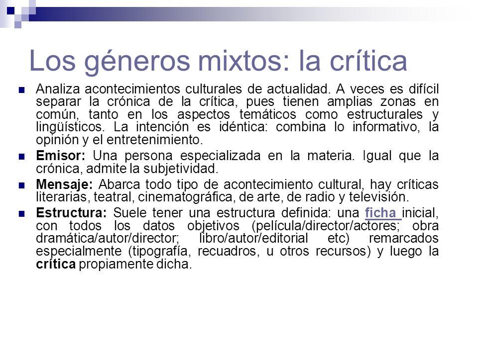 Los géneros mixtos: la crítica