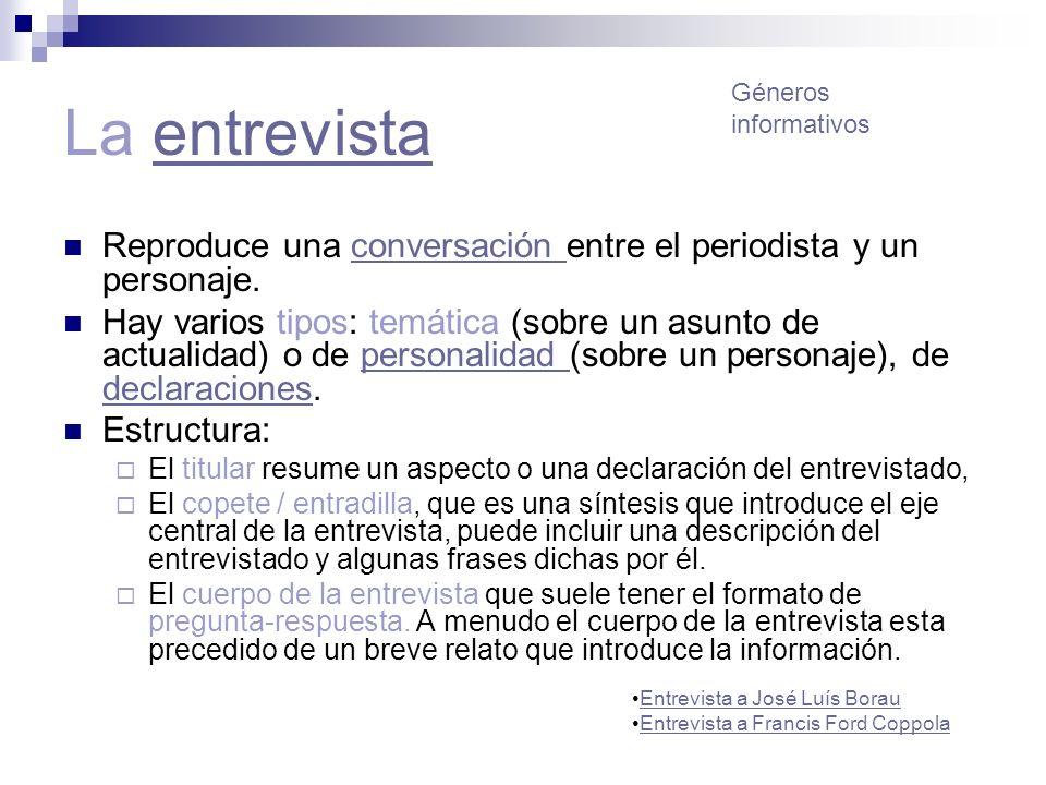 La entrevista Géneros. informativos. Reproduce una conversación entre el periodista y un personaje.