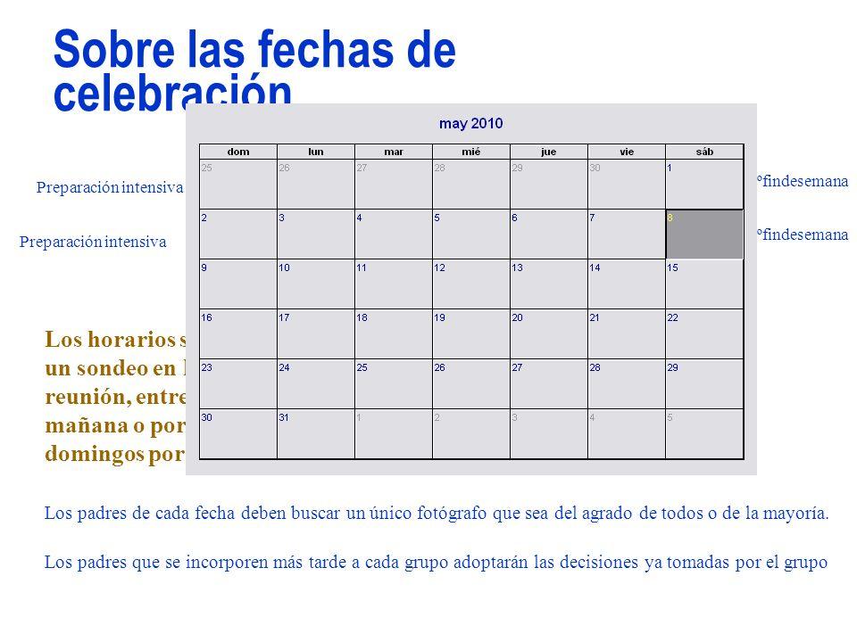 Sobre las fechas de celebración...