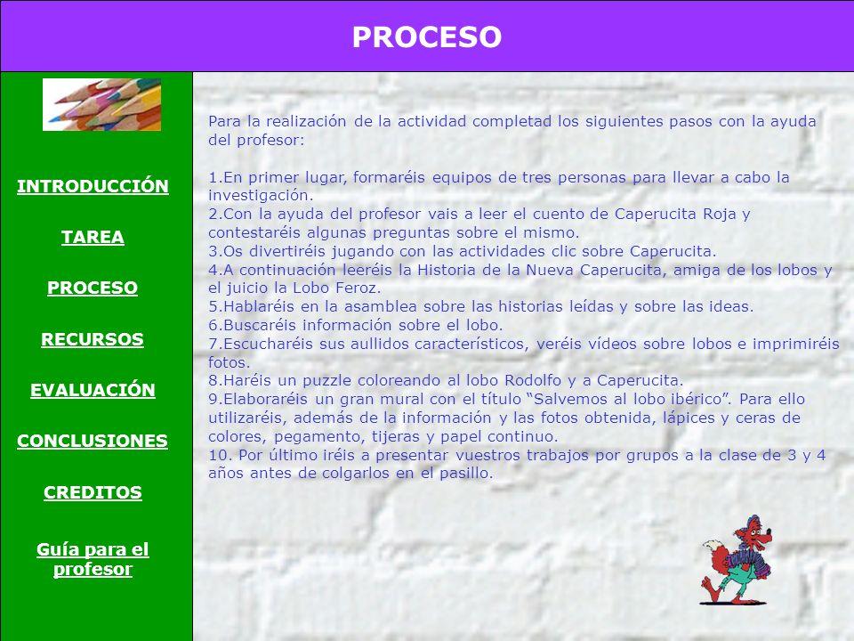 PROCESO INTRODUCCIÓN TAREA RECURSOS EVALUACIÓN CONCLUSIONES CREDITOS