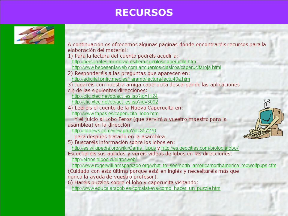 RECURSOS INTRODUCCIÓN TAREA PROCESO EVALUACIÓN CONCLUSIONES CREDITOS