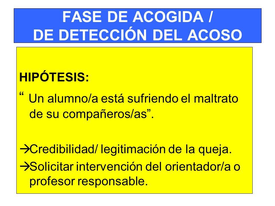 FASE DE ACOGIDA / DE DETECCIÓN DEL ACOSO