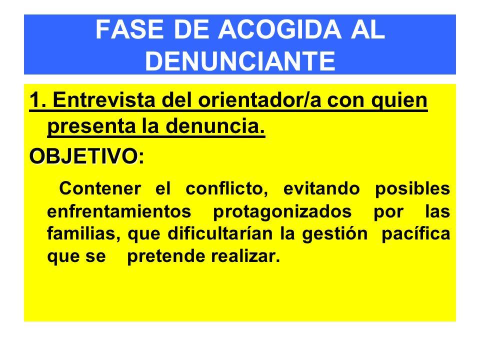 FASE DE ACOGIDA AL DENUNCIANTE