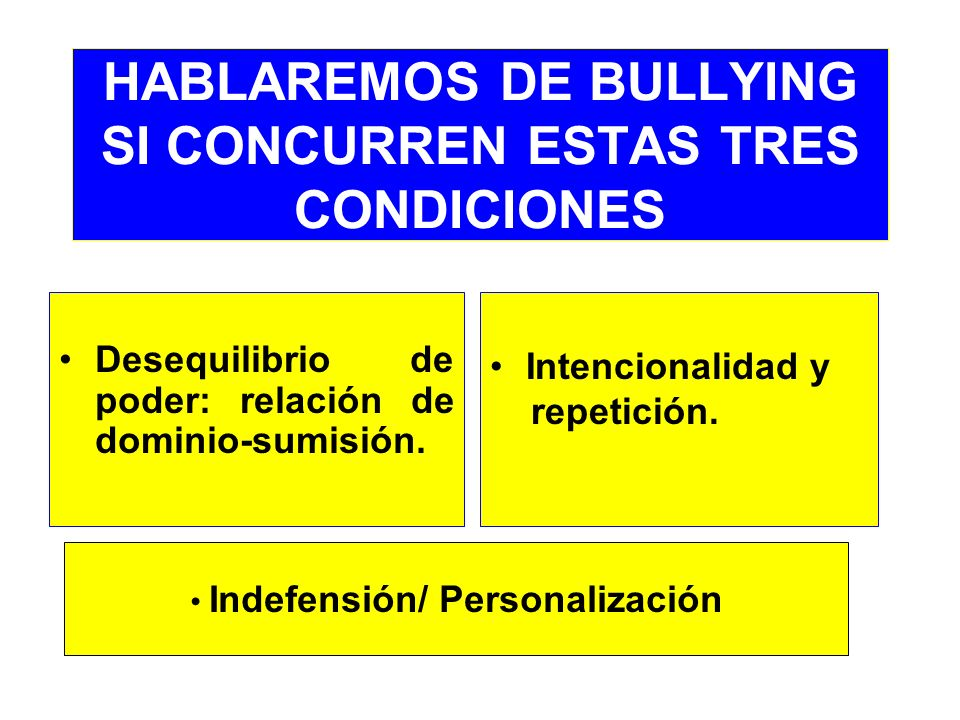 HABLAREMOS DE BULLYING SI CONCURREN ESTAS TRES CONDICIONES