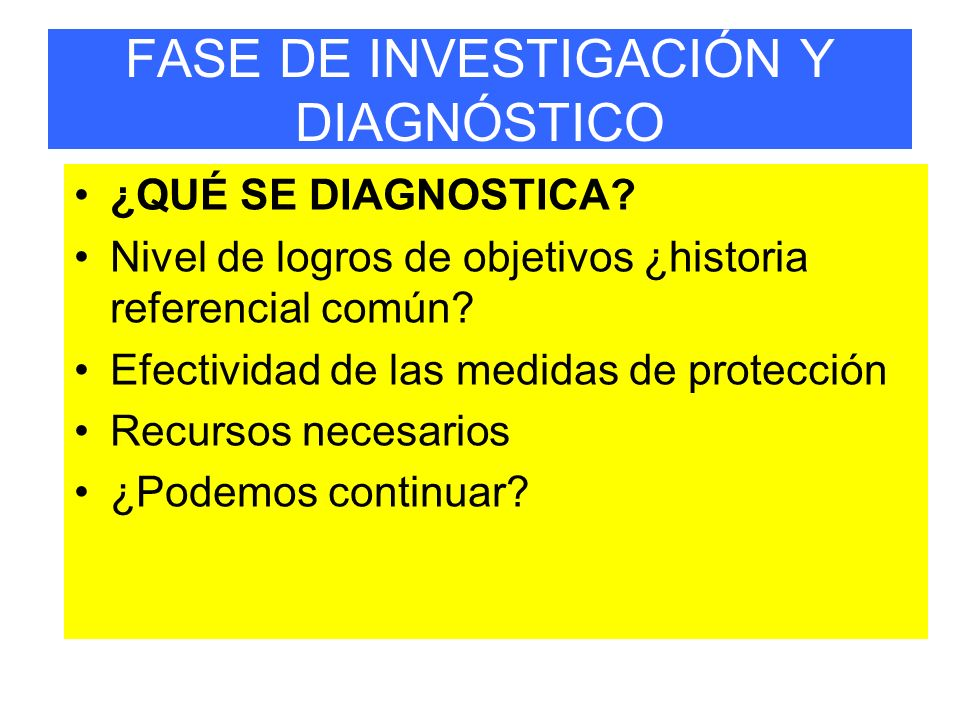 FASE DE INVESTIGACIÓN Y DIAGNÓSTICO