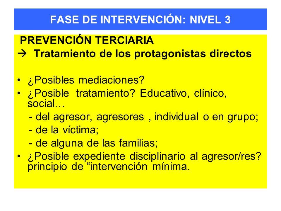 FASE DE INTERVENCIÓN: NIVEL 3