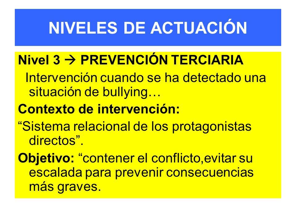NIVELES DE ACTUACIÓN Nivel 3  PREVENCIÓN TERCIARIA