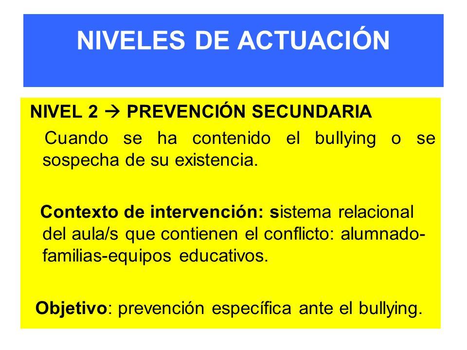 NIVELES DE ACTUACIÓN NIVEL 2  PREVENCIÓN SECUNDARIA