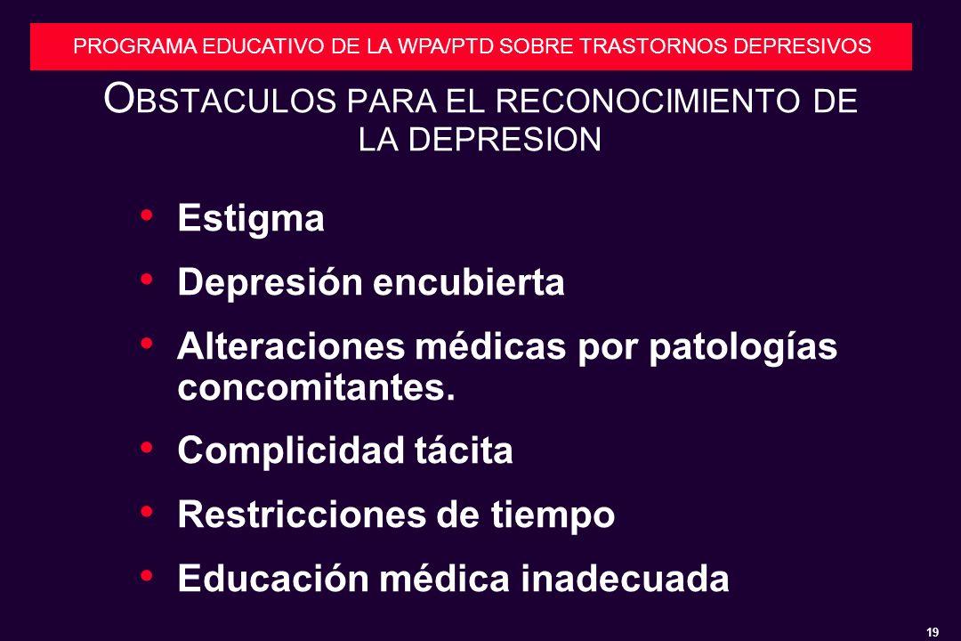 OBSTACULOS PARA EL RECONOCIMIENTO DE LA DEPRESION