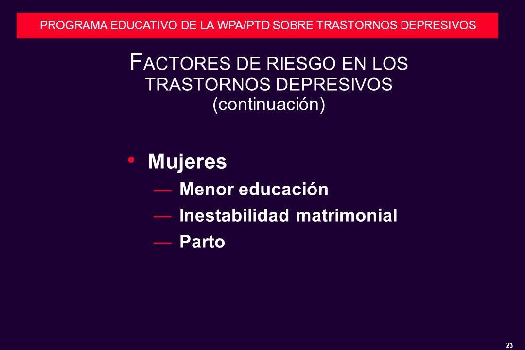 FACTORES DE RIESGO EN LOS TRASTORNOS DEPRESIVOS (continuación)