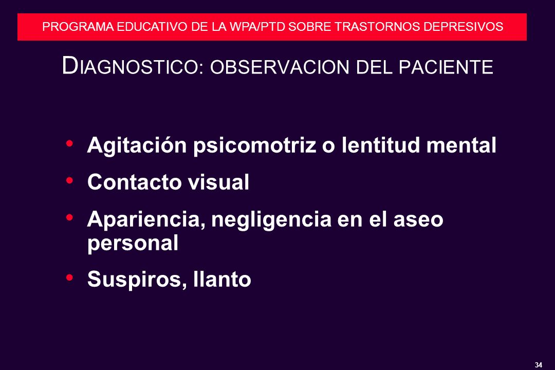 DIAGNOSTICO: OBSERVACION DEL PACIENTE