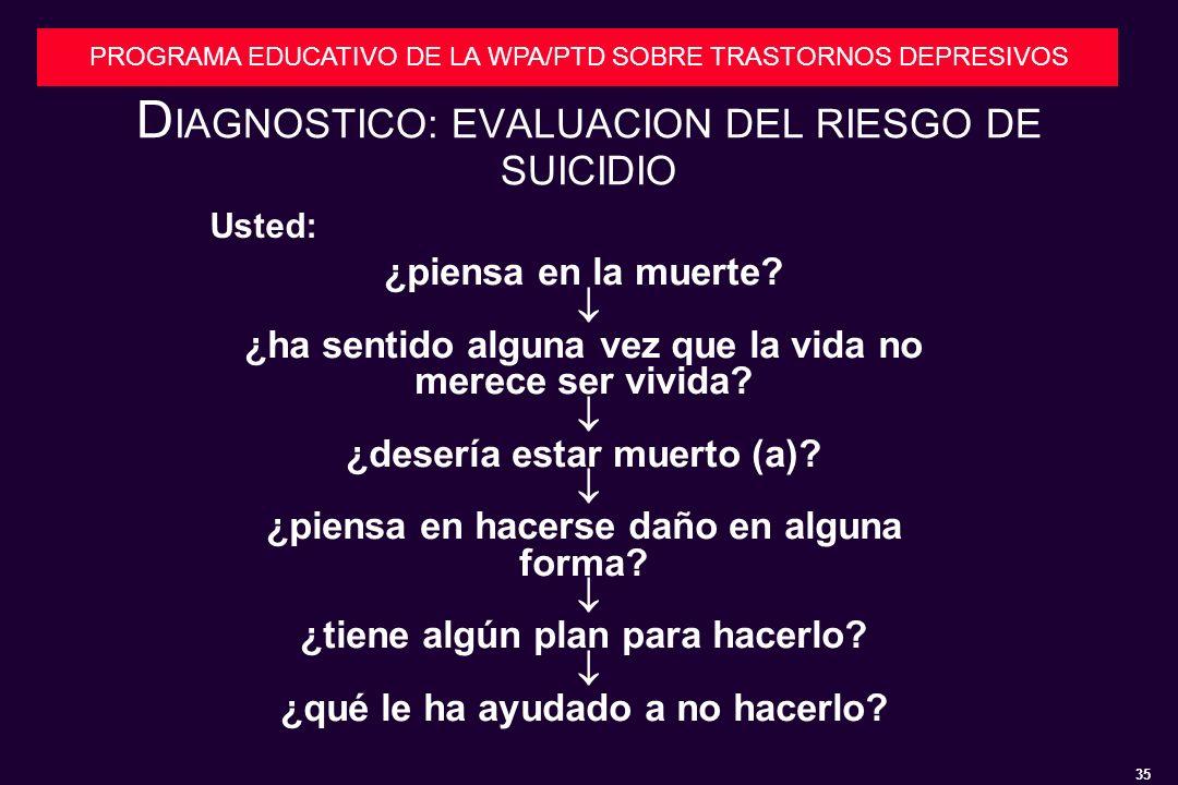 DIAGNOSTICO: EVALUACION DEL RIESGO DE SUICIDIO