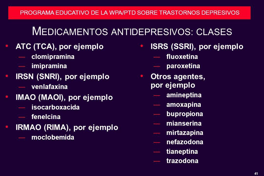 MEDICAMENTOS ANTIDEPRESIVOS: CLASES