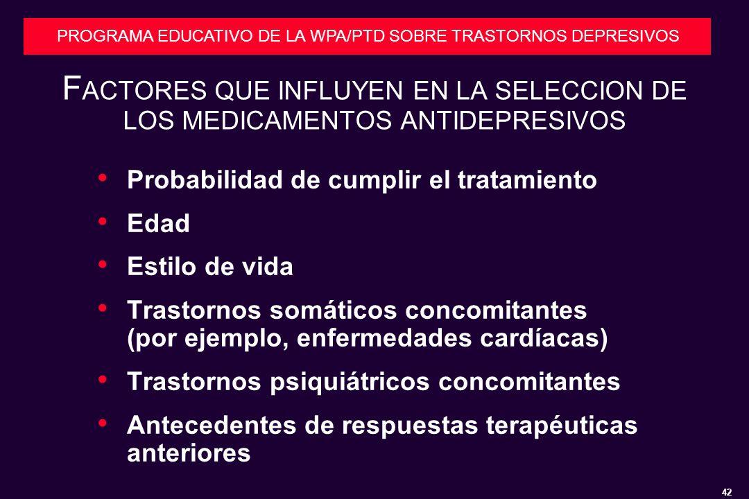 FACTORES QUE INFLUYEN EN LA SELECCION DE LOS MEDICAMENTOS ANTIDEPRESIVOS