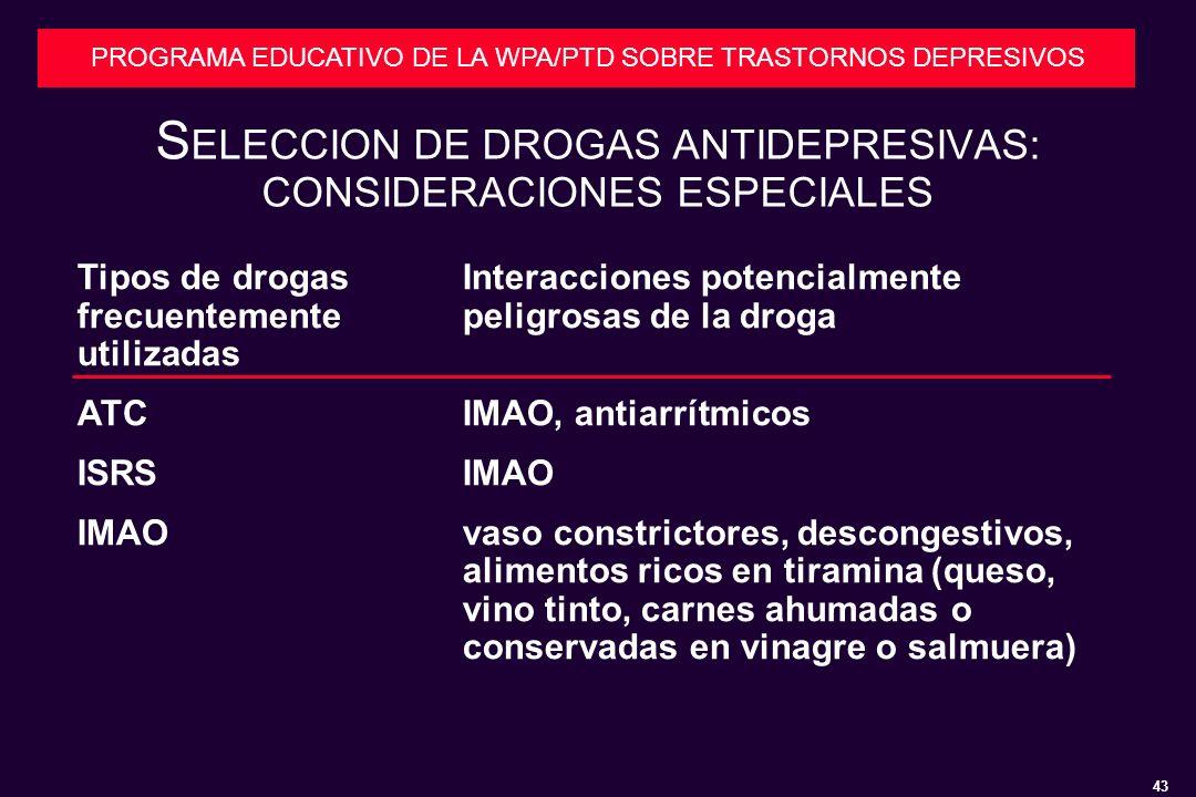 SELECCION DE DROGAS ANTIDEPRESIVAS: CONSIDERACIONES ESPECIALES