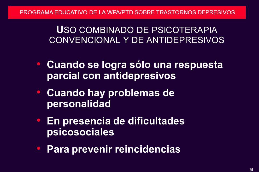 USO COMBINADO DE PSICOTERAPIA CONVENCIONAL Y DE ANTIDEPRESIVOS