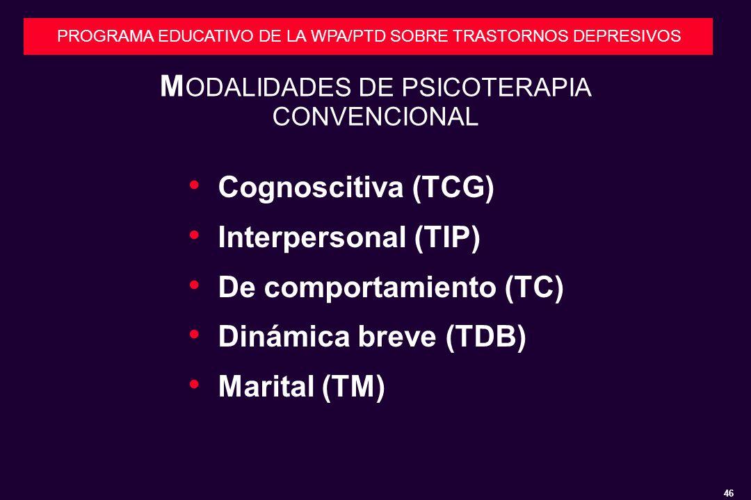MODALIDADES DE PSICOTERAPIA CONVENCIONAL