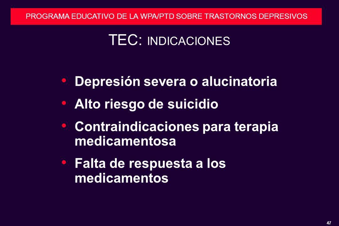 TEC: INDICACIONES Depresión severa o alucinatoria
